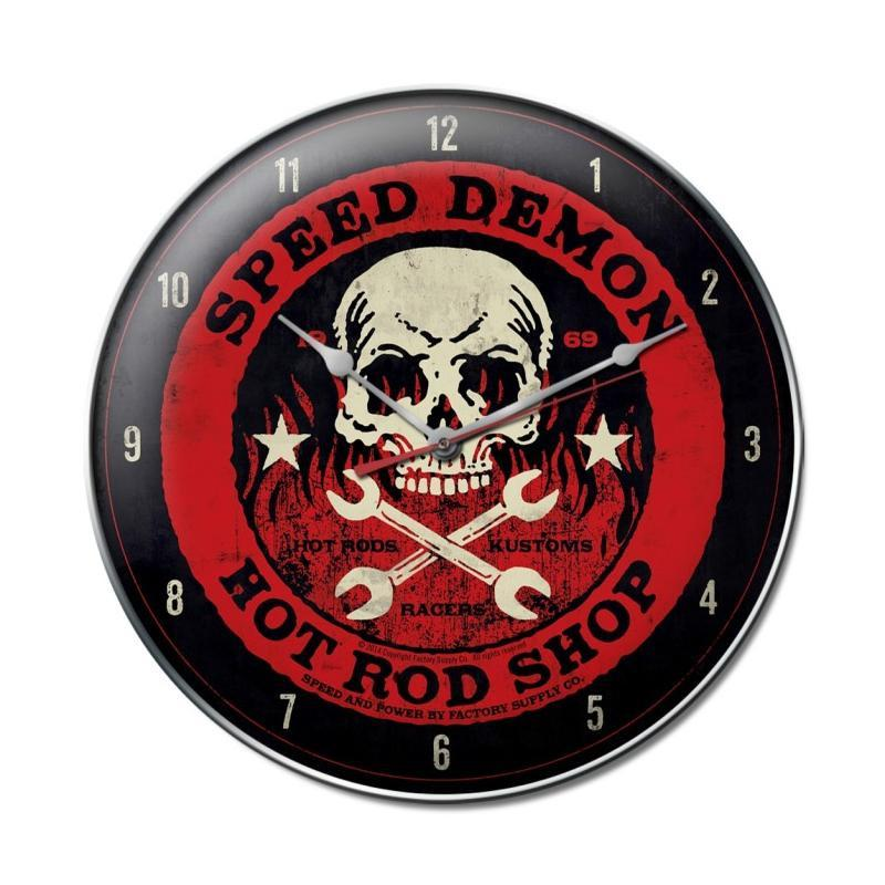 Speed Demon red skull clock - Man Cave Ideas
