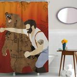Man Punching Bear Shower Curtain - Man Cave Ideas  - 2