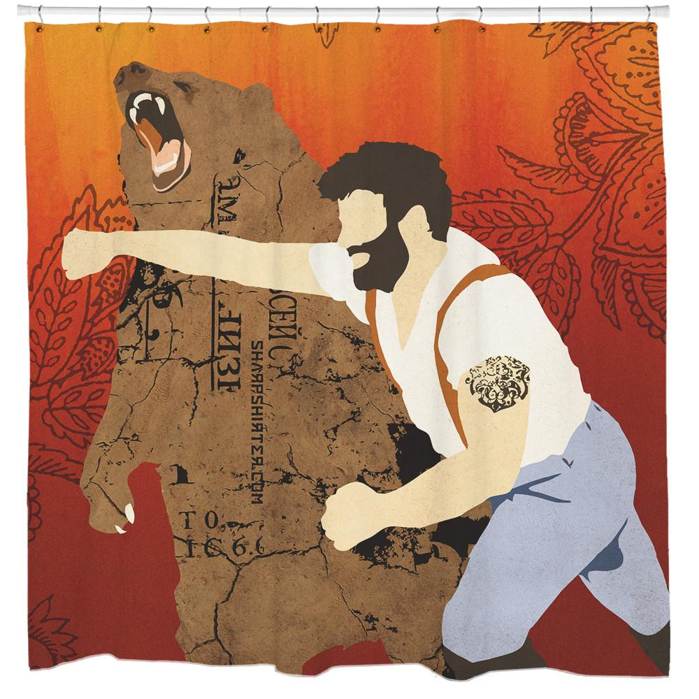 Man Punching Bear Shower Curtain - Man Cave Ideas  - 1