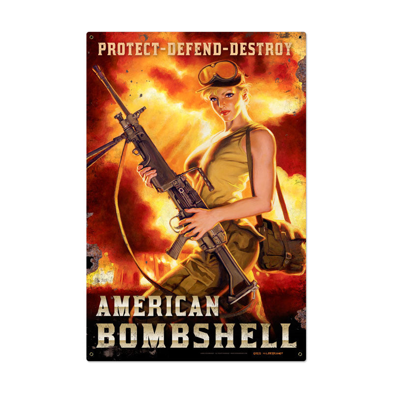 American Bombshell Metal Sign - Man Cave Ideas