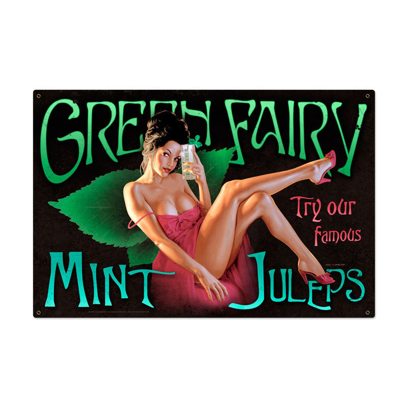 Green Fairy Metal Sign - Man Cave Ideas