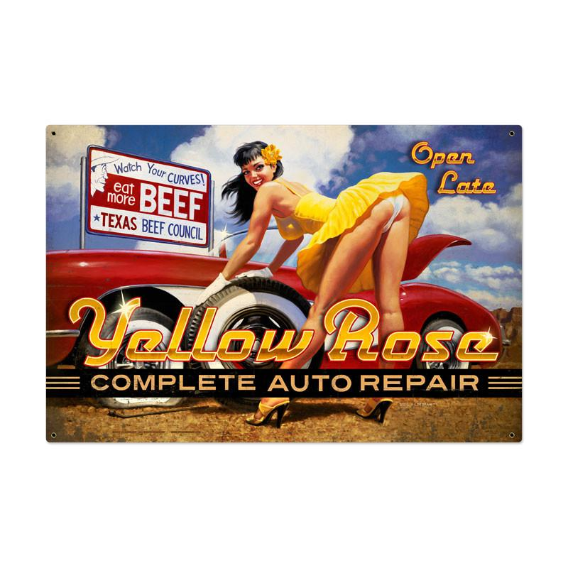 Yellow Rose Metal Sign - Man Cave Ideas