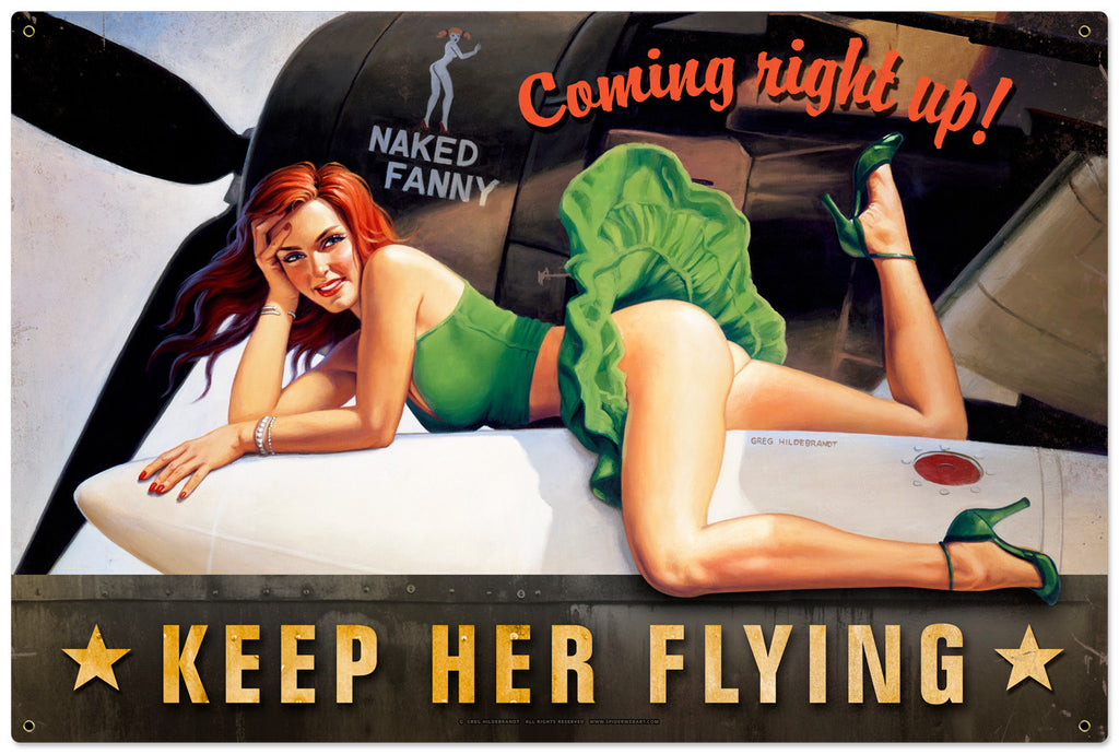 Keep Her Flying Metal Sign - Man Cave Ideas