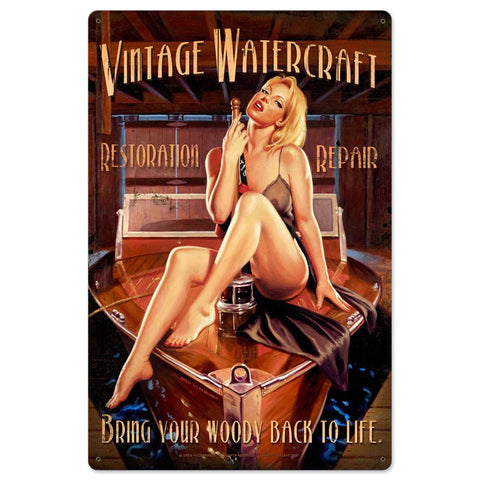 Vintage Watercraft Metal Sign - Man Cave Ideas