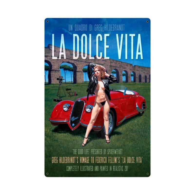 La Dolce Vita XL Metal Sign - Man Cave Ideas
