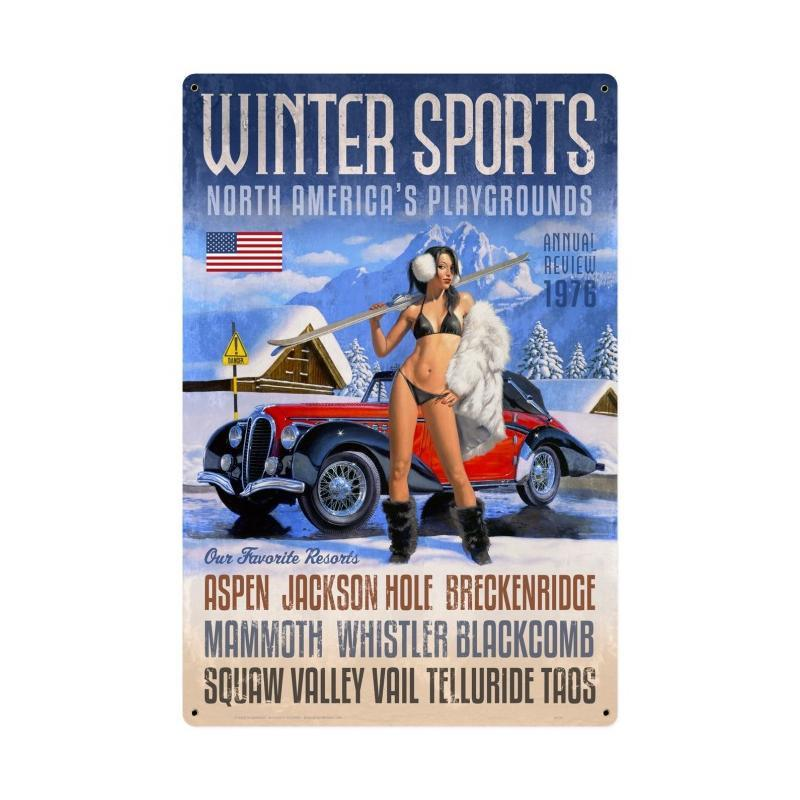 Winter Sports Sign Metal Sign - Man Cave Ideas
