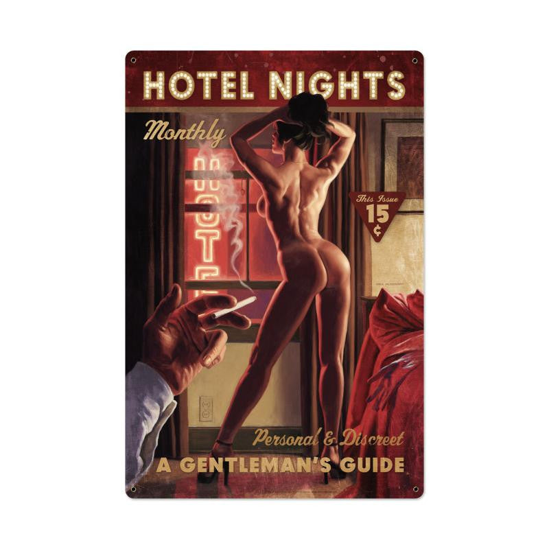 Hotel Nights Metal Sign - Man Cave Ideas