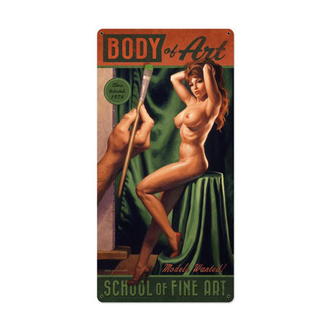 Body Of Art Metal Sign - Man Cave Ideas