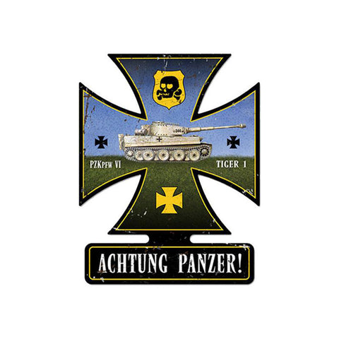 Achtung Panzer Metal Sign - Man Cave Ideas
