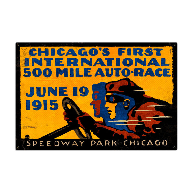 Chicago 500 Metal Sign - Man Cave Ideas