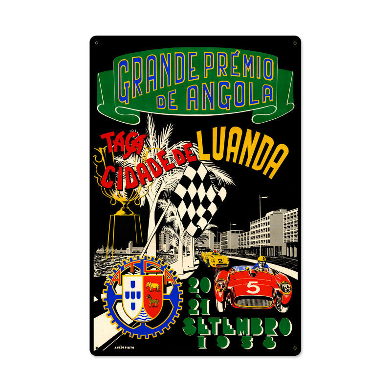 Angola Grand Prix Metal Sign - Man Cave Ideas