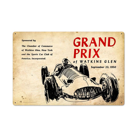 Watkins Glen Grand Prix Metal Sign - Man Cave Ideas