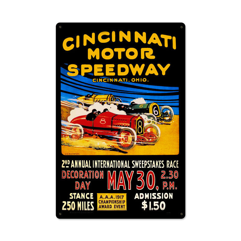 Cincinnati Motor Speedway Metal Sign - Man Cave Ideas