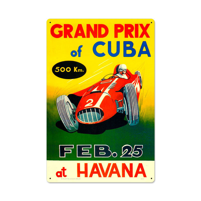 Grand Prix Cuba Metal Sign - Man Cave Ideas