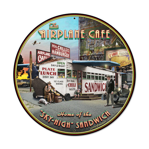 Airplane Cafe Metal Sign - Man Cave Ideas