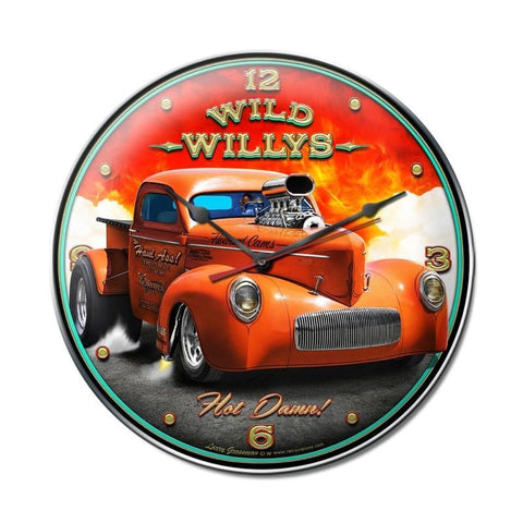 Wild Willys Hot Damn Hot Rod Clock - Man Cave Ideas