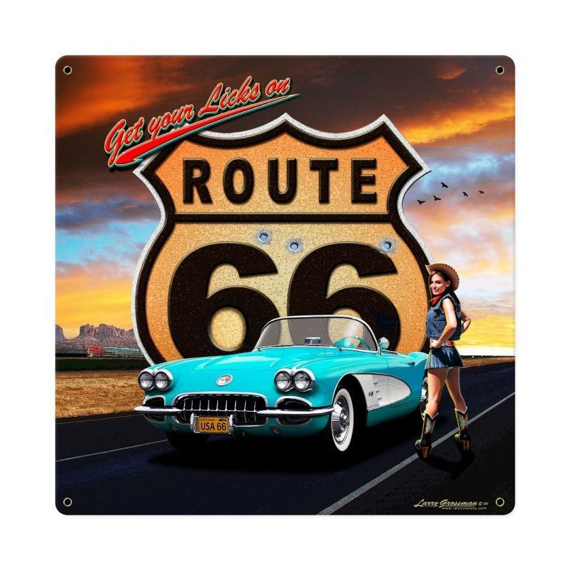 Route 66 Girl Metal Sign - Man Cave Ideas