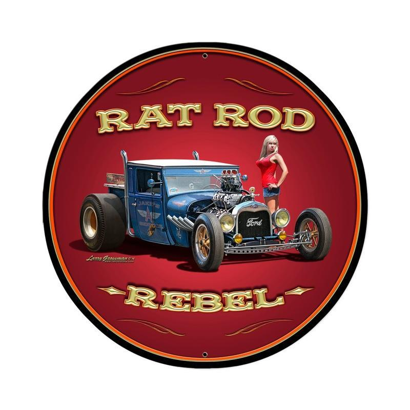 Rat Rod Rebel Metal Sign - Man Cave Ideas