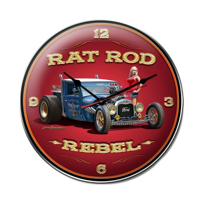 Rat Rod Rebel Clock - Man Cave Ideas