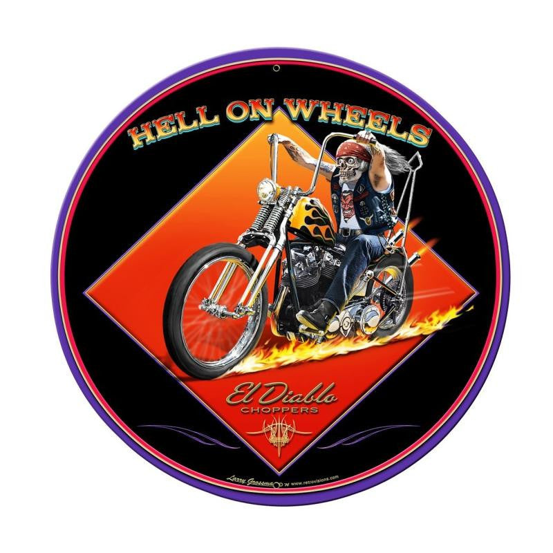Hell On Wheels Metal Sign - Man Cave Ideas