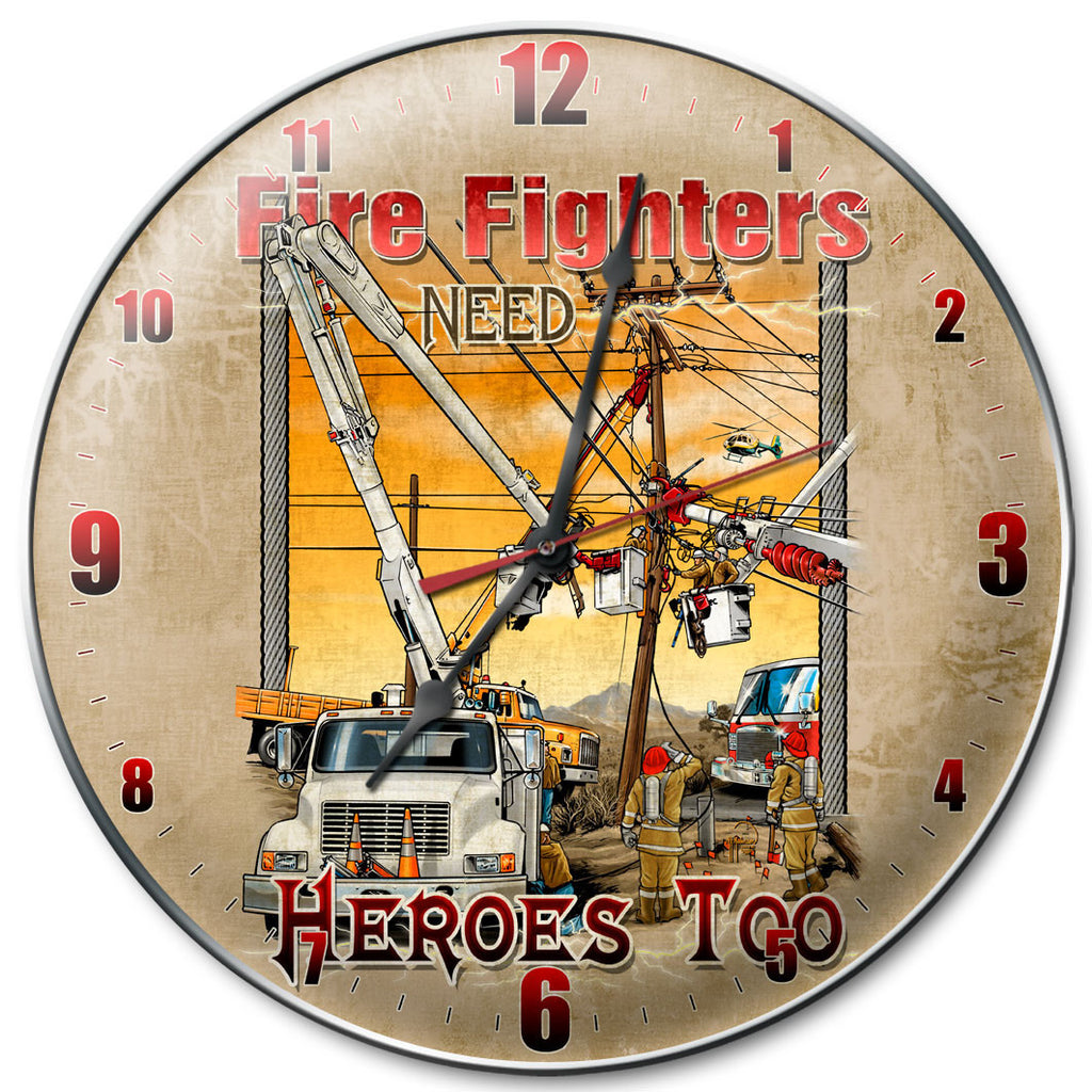 Fire Fighters Need Heroes Clock - Man Cave Ideas