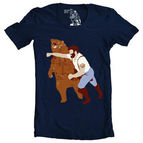 Man Punching Bear T-shirt - Man Cave Ideas  - 1