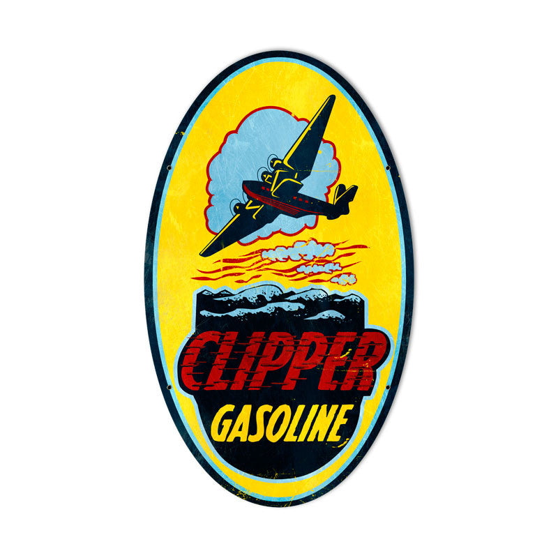 Clipper Gasoline Metal Sign - Man Cave Ideas