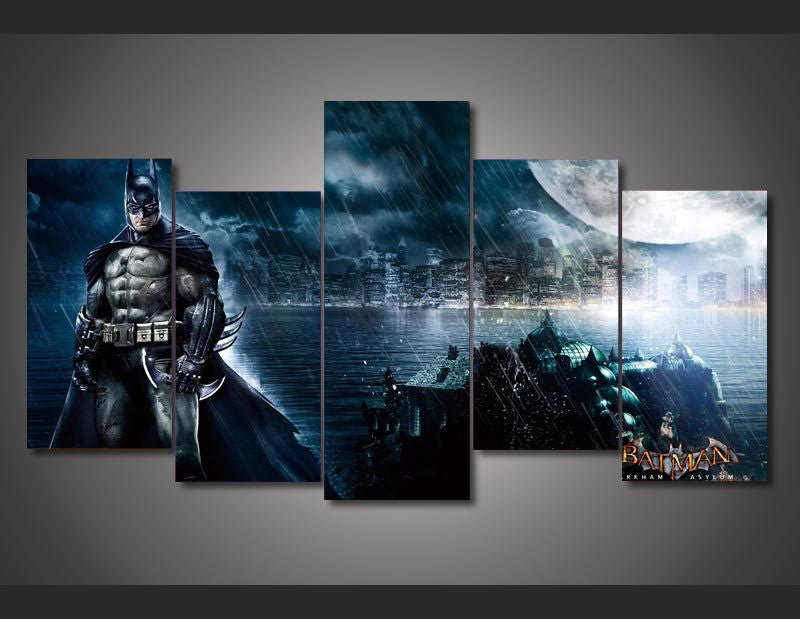 Canvas print featuring Bat Man, the Dark Knight, 5 panels