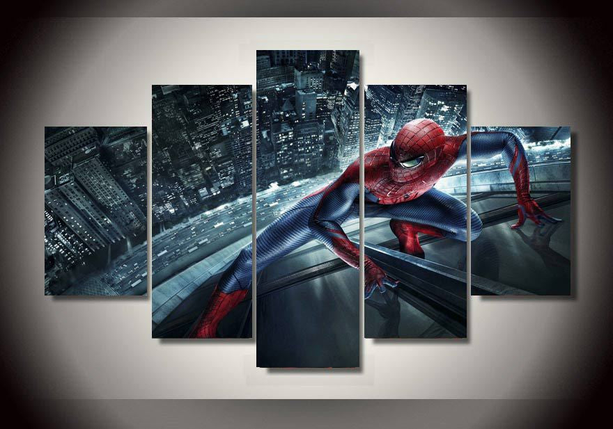 Canvas Print featuring Spider Man, 5 panels