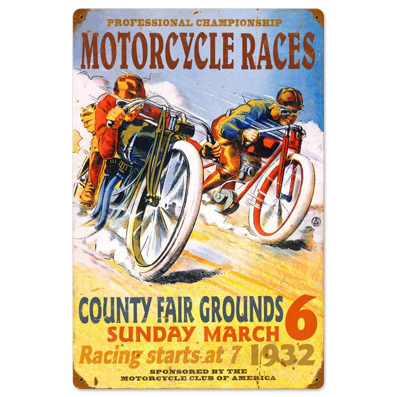 Pro Motorcycle Races Metal Sign - Man Cave Ideas
