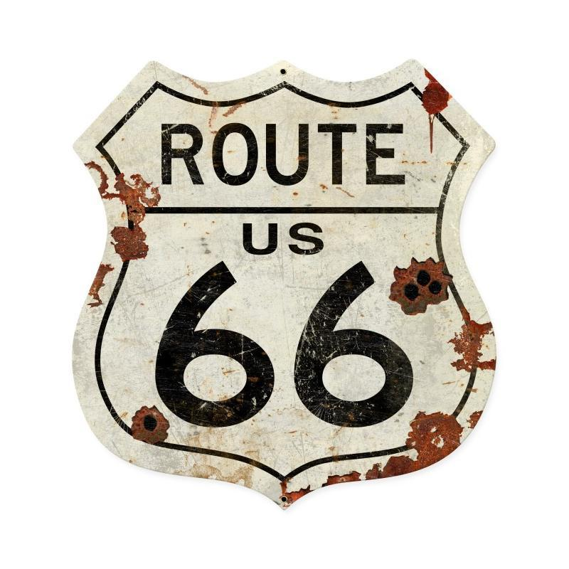 Route US 66 Metal Sign - Man Cave Ideas