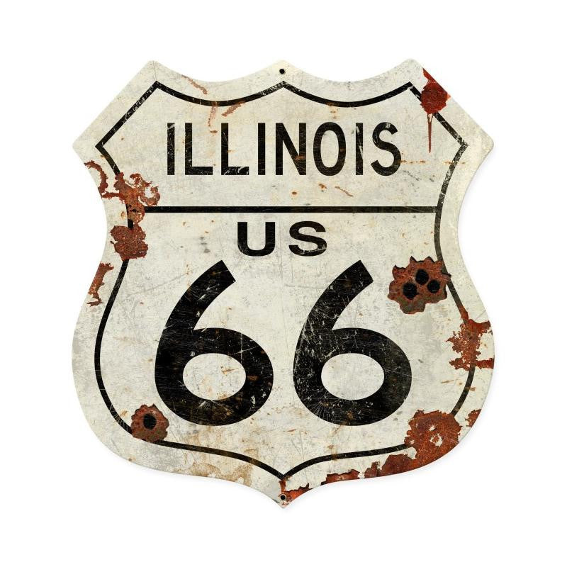 Illinois US 66 Metal Sign - Man Cave Ideas