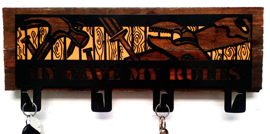 Tools My Cave My Rules Key Holder With Wood Backer - Man Cave Ideas