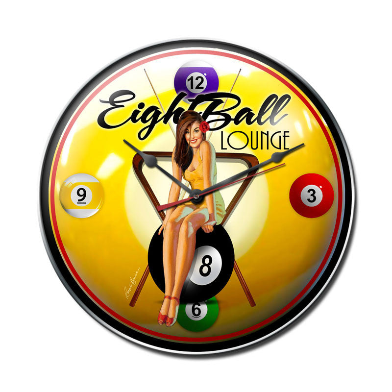 Eight Ball Pinup Clock - Man Cave Ideas