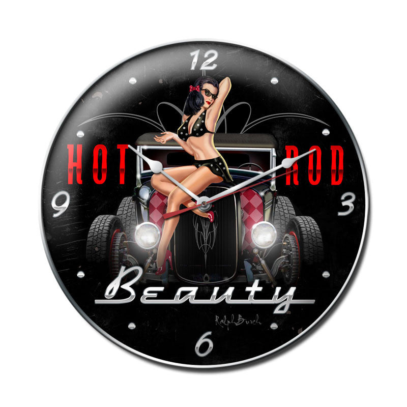 Hot Rod Beauty Clock - Man Cave Ideas