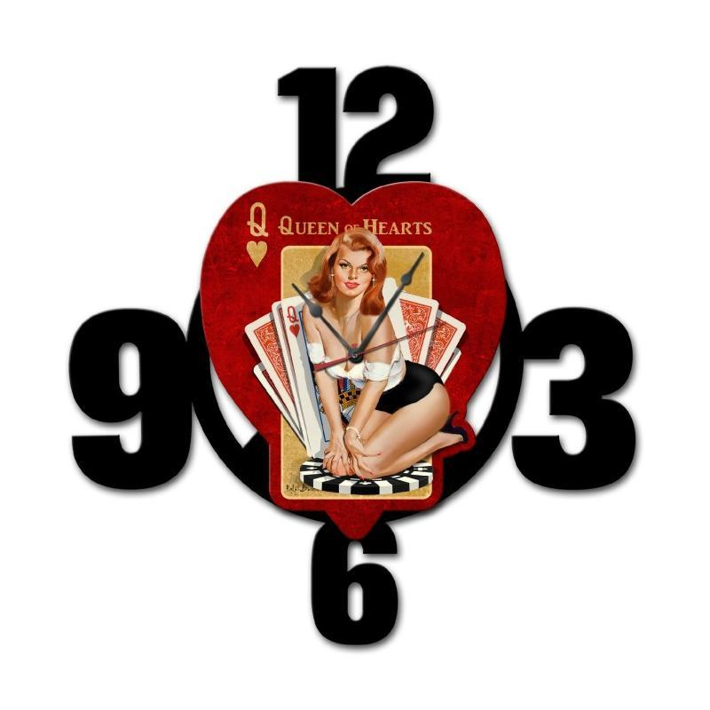 Queen Of Hearts Layered Clock - Man Cave Ideas