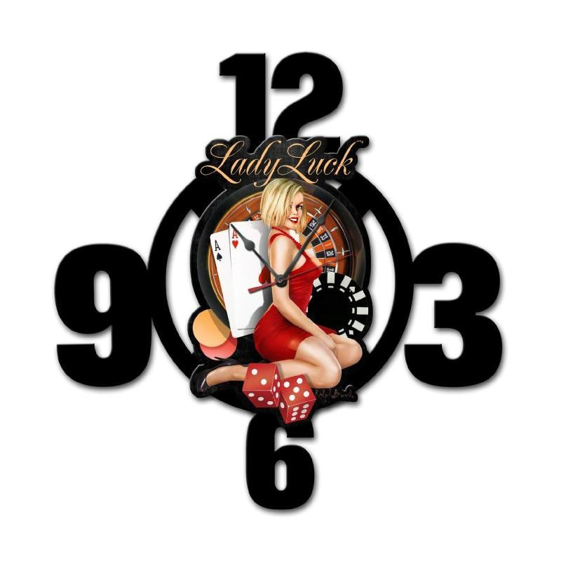 Lady Lucky Layered Clock - Man Cave Ideas