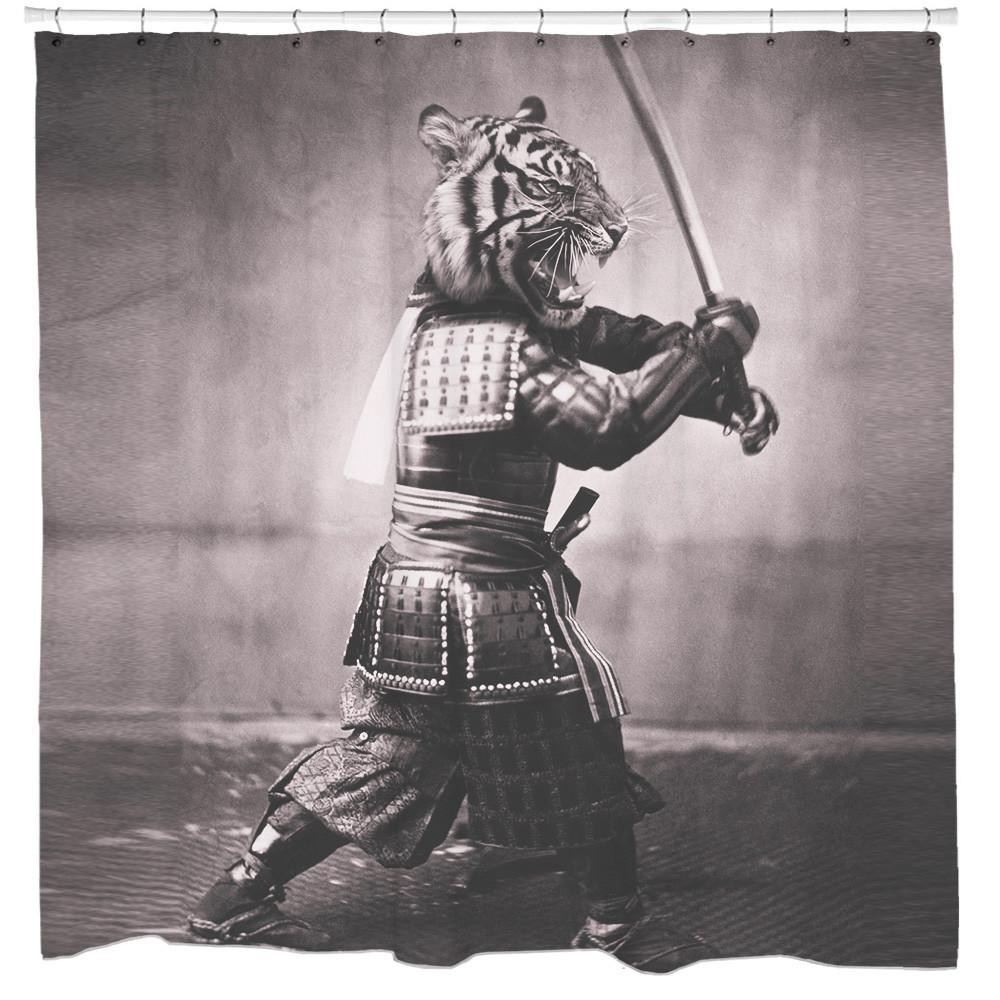 Samurai Tiger Shower Curtain - Man Cave Ideas  - 1
