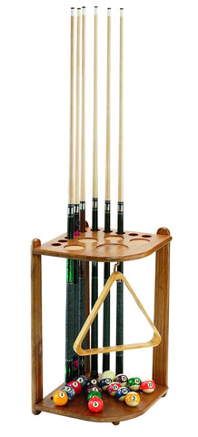 Oak Wood 10-Cue Corner Pool Cue Rack - Man Cave Ideas
