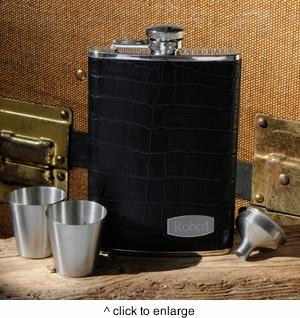 Personalized Executive Leather Flask Set