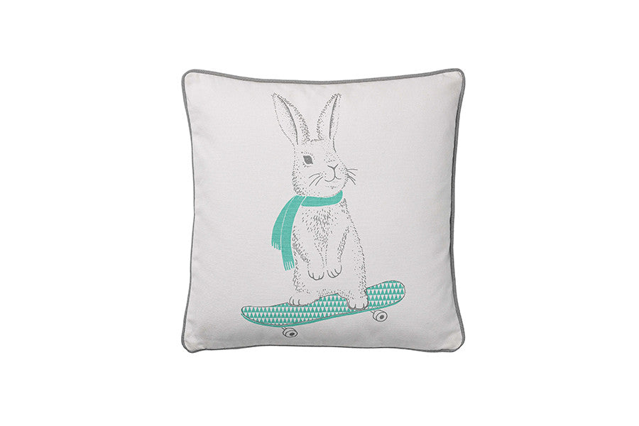 Mini Cushion w Rabbit On Skateboard