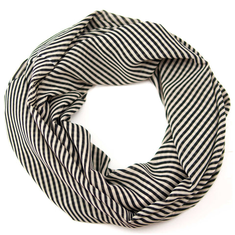 Black And White Striped Chiffon Infinity