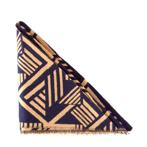 Navy and Tan Abstract Triangle Scarf