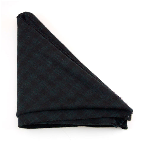 Black and Forest Green Checked Triangle Scarf