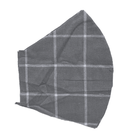 Grey Linen Check, Two Layer Face Mask