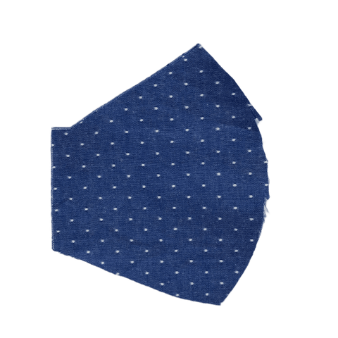 Chambray Dots on Royal Blue, Two Layer Face Mask