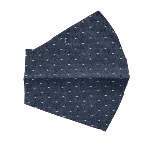Chambray Dots on Navy Blue, Two Layer Face Mask