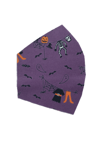 Halloween Print on Purple -  Two Layer Face Mask