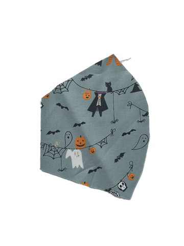 Halloween Print on Grey -  Two Layer Face Mask
