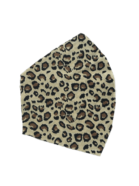 Leopard Print on tan -  Three Layer Face Mask